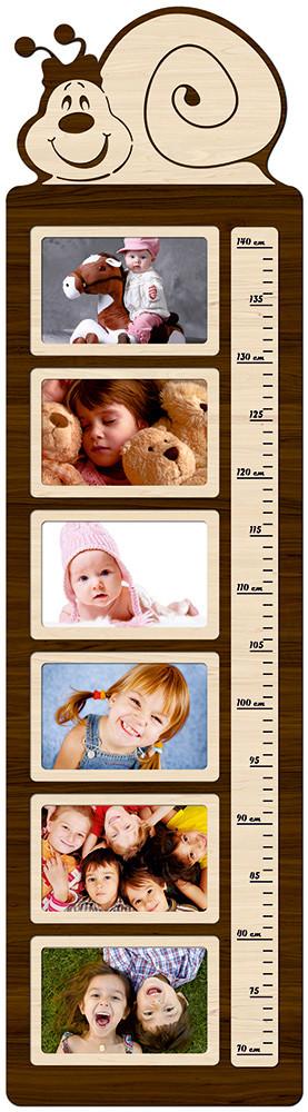"""Фоторамка коллаж вертикальная, ростомер детский из фотографий """"Улитка"""" 25х93см."""