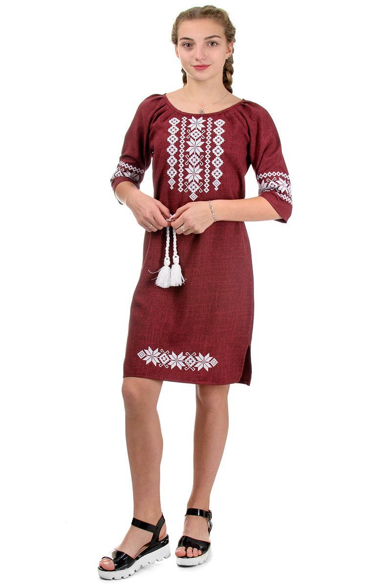 Модное женское платье с вышивкой лен-габардин (марсала)
