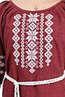 Модное женское платье с вышивкой лен-габардин (марсала), фото 4