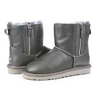 Женские зимние угги UGG AUSTRALIA - mini shiny classic double zip, metallic black, фото 1