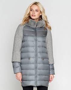 Sea Wing   Длинная женская зимняя куртка 9070 серый