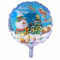 Шар фольгированный новогодний Merry Christmas диаметр 45 см