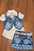 Летний джинсовый костюм тройка для девочек,Размеры 98 см.Фирма GRACE.Венгрия