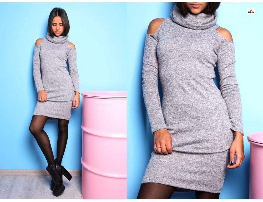 Сукня жіноча ангора з вирізом на плечах
