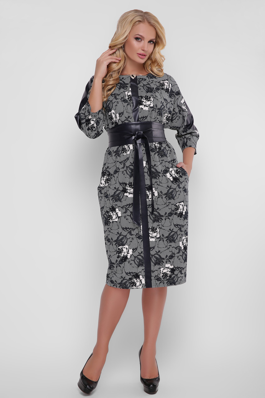 Платье женское  Кэтлин черно-белые розы Экокожа