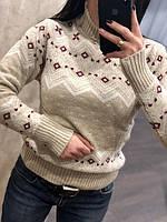 Стильный турецкий полушерстяной свитер с Орнаментом пудра-красный-белый (44-48)
