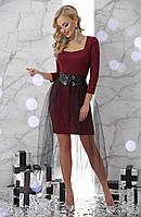 Платьес юбкой фатиновой сеткой и широким поясом новогоднее нарядное коктейльное 42 44 46