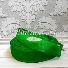 Стрічка з органзи з атласним краєм, 2,5 см, колір зелений