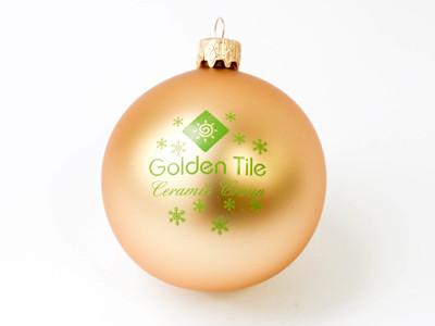 Шарик новогодний, Д 60 мм,  золото, с нанесением логотипа