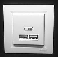 Розетка USB 2,1A Белая Asfora Schneider,  EPH2700221