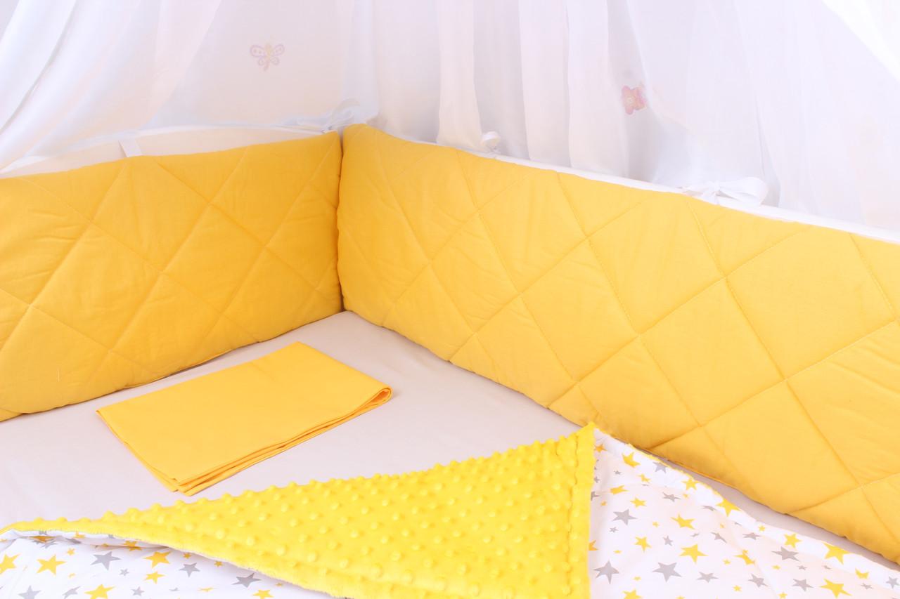 Тонкие бортики защита в кроватку жёлтый с серым