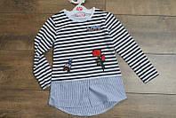 Блузка -обманка для девочек 4- 8 лет