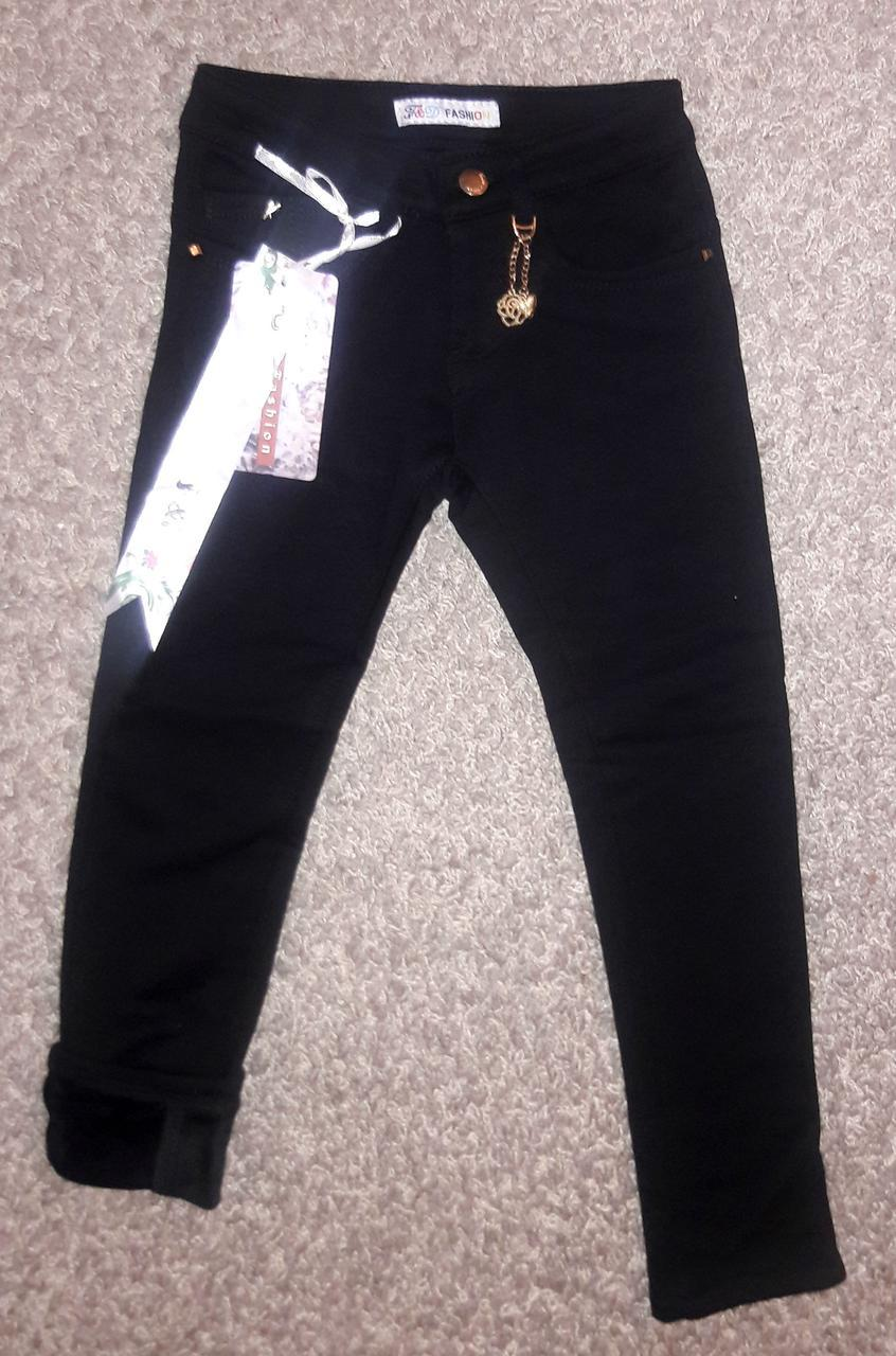 Теплые котоновые черные брюки для девочек подростковые 6- лет