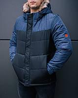 """Мужская фирменная куртка Pobedov Winter Jacket """"Levyy bereg"""" BLACK-NAVY"""