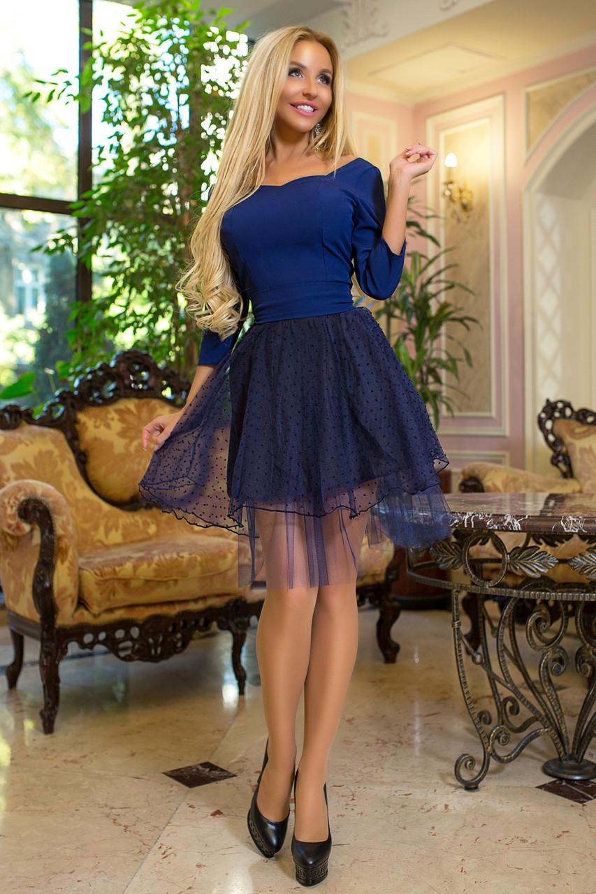 874785f1d26 Платье мини с пышной юбкой из евросетки и фатина марсала - Одежда для  настоящих модниц в