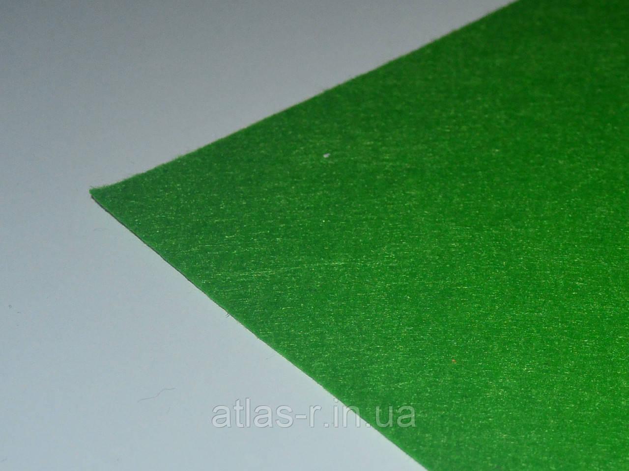 Жесткий фетр для рукоделия зеленый, травяной листовой 1,3 мм