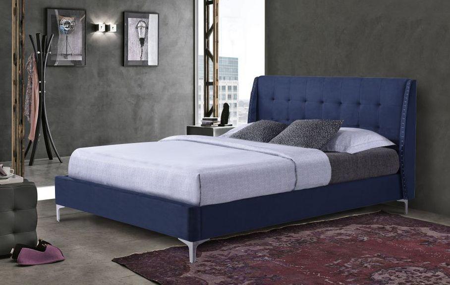 Кровать мягкая KELLY 160*200 Евродом, темно-синяя