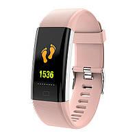 Смарт фитнес браслет тонометром давления крови F07 plus для iPhone Android часы с пульсометром калории розовый