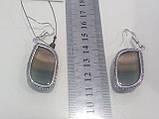 Флюорит серьги с натуральным флюоритом в серебре Индия, фото 5