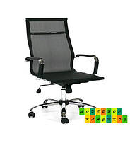 Кресло компьютерное, кресло офисное Невада, черная сетка, металл хром