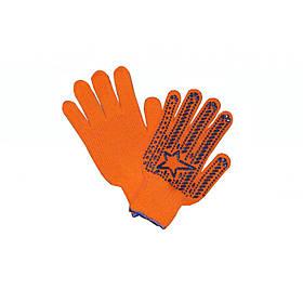 Перчатки оранж. со звездой ПВХ 7клас 564