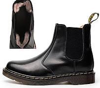 Женские зимние кожаные ботинки/челси в стиле Dr. Martens Chelsea Black