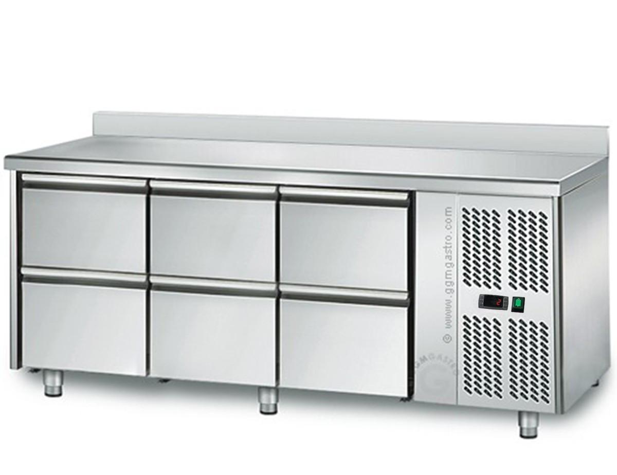 Стол холодильный 1,8mx0,7m, 6-шухляды c бортиками KTS187A#3#SBS1212