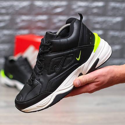 "Зимние кроссовки на меху Nike M2K Tekno Mid ""Black/Yellow"" (Черные), фото 2"