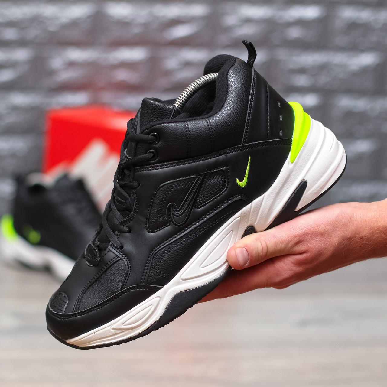 """Зимние кроссовки на меху Nike M2K Tekno Mid """"Black/Yellow"""" (Черные)"""