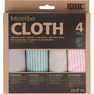"""Комплект салфеток из микрофибры """"Ультра"""" SMART Microfiber System розовый/серый"""