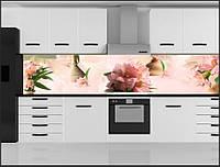 Стеклянный фартук для кухни - скинали Цветы, фото 1