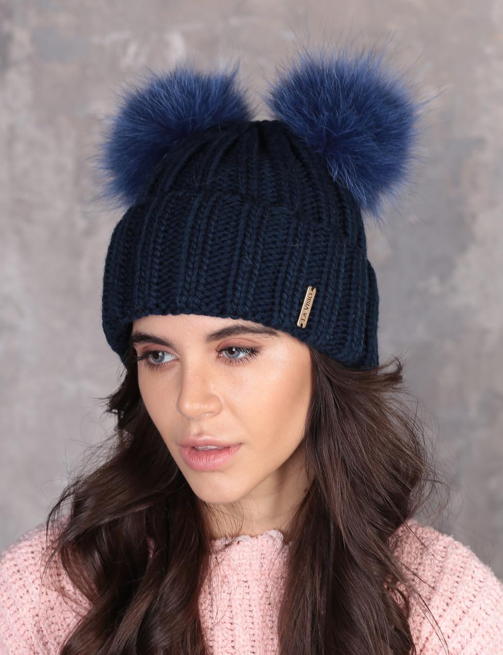 Шапка Грация, цвет - синий