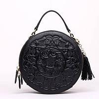 Жіноча кругла сумка крос-боді шкіряна чорна з малюнком і декоративної пензликом