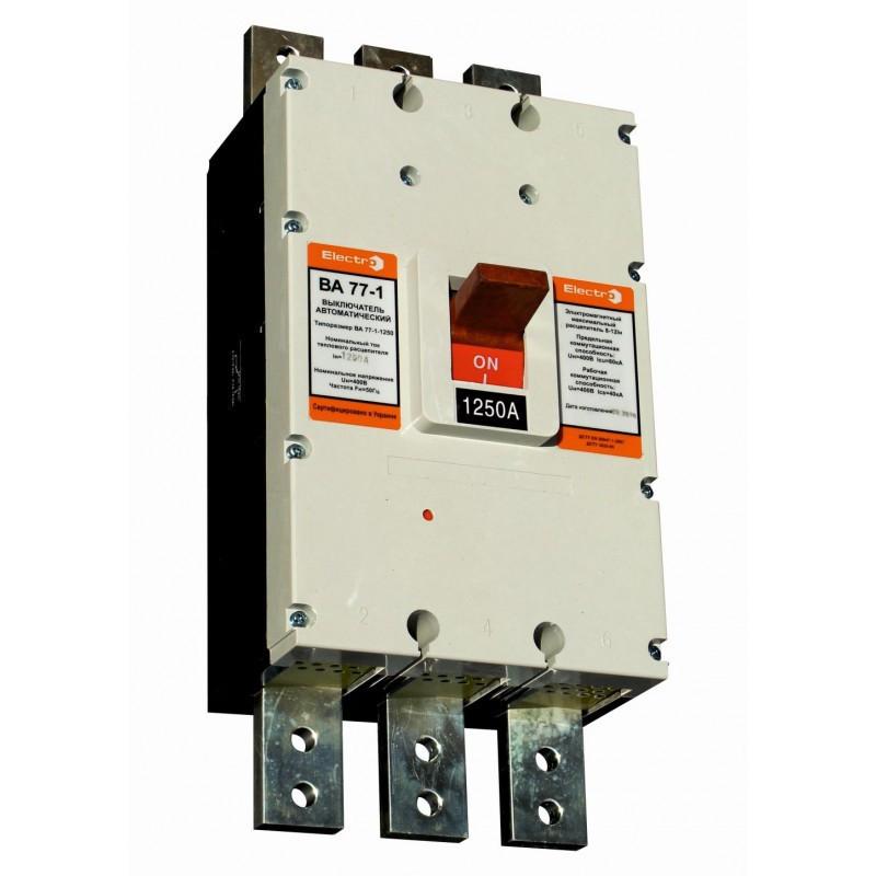 Выключатель автоматический ВА77-1-1250  3 П  1250А   5-10In   Icu  65кА  с электроприводом   + доп. контакт
