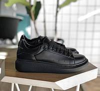 Женские кроссовки Adidas Alexander McQueen Oversized Sneaker all black. Живое  фото (Реплика ААА+ 22fdaa22d396e