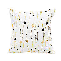 Декоративна новорічна подушка з велюру золотистими елементами