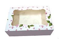Коробка для пирожного 250*170*80 мм. (окошко) с принтом роза