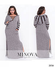 Стильное платье в пол с капюшоном размеры: 48-60, фото 2