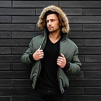 Куртка зимняя мужская с капюшоном хаки. Живое фото