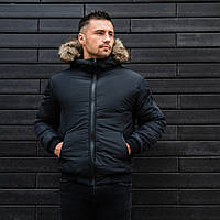 Куртка зимняя мужская с капюшоном черная. Живое фото