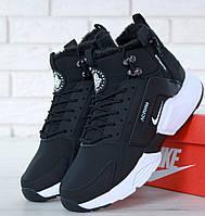 Зимние кроссовки Nike Huarache X Acronym City Winter black white с мехом. Реплика ААА+