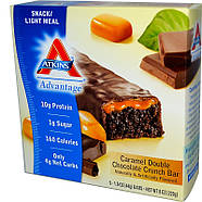 Atkins – Хрустящий батончик с шоколадом и карамелью, фото 2