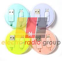 Шнур шт.USB А -шт.Iphone 6, в колбе, 1м, цветной
