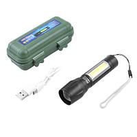 Фонарь ручной 511/8424-XPE+COB,  ЗУ mirco USB