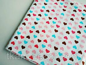 Трикотаж детский (хлопковая ткань) цветные сердечки