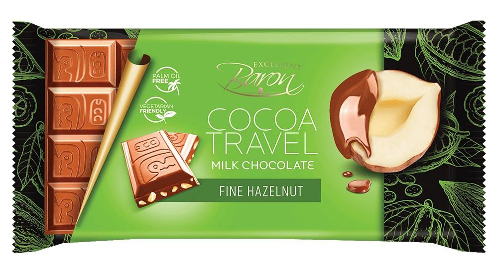 Молочный Шоколад Baron Cocoa Travel Fine Hazelnut 100 г.