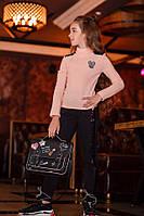 Детские чёрные лосины на меху на девочку с паеткой, фото 1