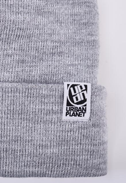 Шапка модна зимове Urban Planet Pom Gry подвійна в'язання