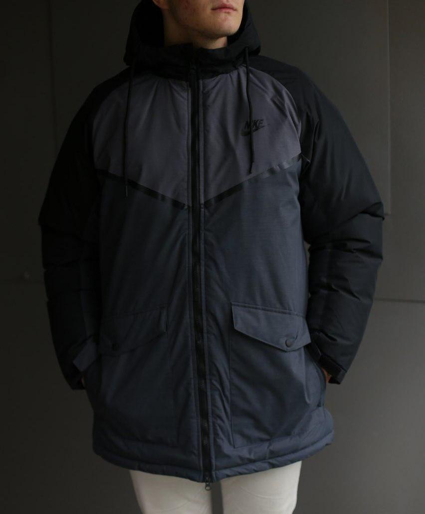 Мужская зимняя куртка Nike серая  (холлофайбер)