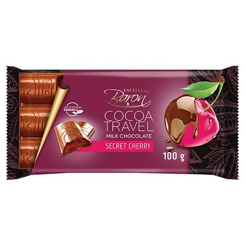 Молочный Шоколад Baron Cocoa Travel Secret Cherry 100 г.